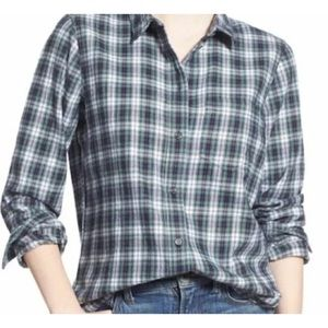 Madewell Small Flannel Boyfriend Plaid Green